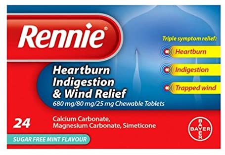Rennie 3 in 1, Heartburn, Indigestion & Wind Relief Chewable Tablets 24s